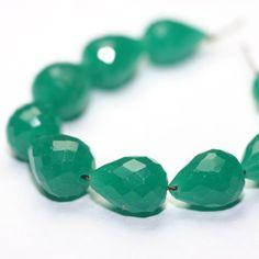 Emerald Faceted Teardrop Bead 3 Kelly by SerendipityGemstones