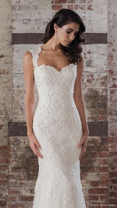justin alexander spring 2017 bridal thick straps sweetheart neckline full embellishment elegant fit and flare wedding dress sheer back chapel train (9861) zv