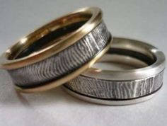 Fingerprint Wedding Bands Ultra Personalized Rings by Brent and Jessica Williams. Really like the 2 metals and this design! Fingerprint Wedding Bands, Fingerprint Jewelry, Wedding Ring For Him, Wedding Rings, Paper Ring, Contemporary Engagement Rings, Wedding Pinterest, Personalized Rings, Anniversary Rings