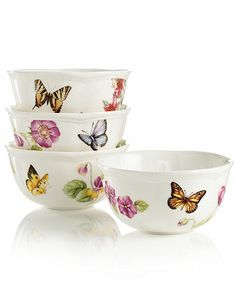Butterfly Meadow China | Lenox Dinnerware, Butterfly Meadow Bloom Assorted Bowls, set of 4