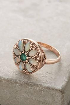 Emerald and Opal Round Mandala Ring in 14k Rose Gold