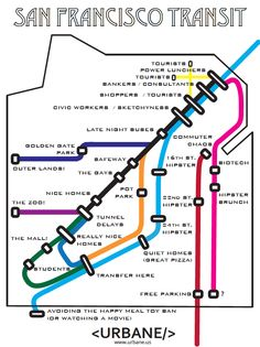 The map of San Francisco, according to their BART subway. / 8 City Maps That Are Annoyingly Accurate (via BuzzFeed)