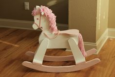 friend of mine called a few weeks ago with this offer: she had an old rocking horse her dad had made which her boys had outgrown, and i. Unicorn Rocking Horse, Rocking Horse Plans, Wood Rocking Horse, Wooden Horse, Rocking Chair, Handmade Furniture, Kids Furniture, Baby Crafts, Fun Crafts