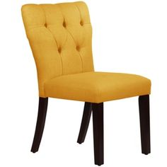 Skyline Furniture Tufted Hourglass Dining Chair In Linen French Yellow