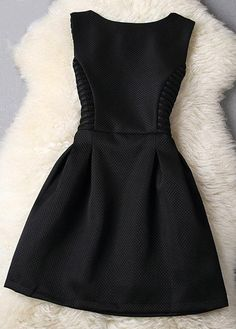 Hollow Out Sleeveless Round Neck A Line Dress - Black on Luulla Mini Prom Dresses, Hoco Dresses, Cute Dresses, Girls Dresses, Cute Casual Outfits, Casual Dresses, Fashion Dresses, Stylish Dresses For Girls, Skirt Outfits