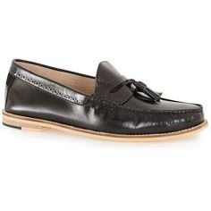 8729b1337a2 TOPMAN Black Leather Tassel Loafer ( 64) ❤ liked on Polyvore featuring men s  fashion