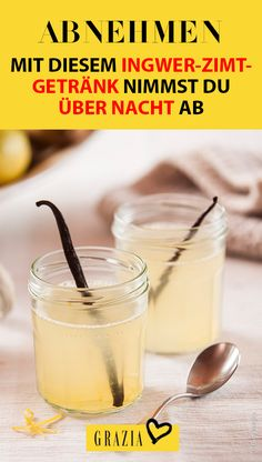 Lose weight: With this ginger-cinnamon drink you lose weight overnight - Losing weight while you sleep with a drink – that sounds too good to be true, doesn& it? Cinnamon Drink, Ginger And Cinnamon, Fruit Smoothies, Smoothie Recipes, Baby Food Recipes, Healthy Recipes, Healthy Food, How To Cook Beef, Calorie Intake