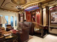 Here is a look at some lavish home theater entrances. They feature everything from double doors & marquees to concession stands and movie posters. Home Cinema Room, At Home Movie Theater, Home Theater Rooms, Home Theater Design, Rich Home, Mansions For Sale, Home Movies, Home Cinemas, Luxury Real Estate
