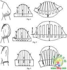 [转载]布丁分享,泡泡袖的做法,附一些泡泡袖的图纸
