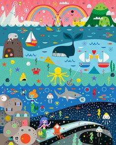 Underwater Cosmos Art Print by Crowded Teeth - X-Small Sea Illustration, Pattern Illustration, Graphic Design Illustration, Childrens Workshop, Kids Watercolor, Art Drawings Beautiful, Unicorn Art, Cute Cartoon Wallpapers, Mural Art
