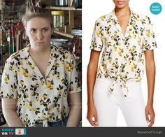 Hannah's lemon print top on Girls. Outfit Details: https://wornontv.net/66244/ #Girls