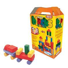 5282.1 - MultiBlocks Coloridos | A linha Multiblocks tem 09 formas e tamanhos diferentes com cantos arredondados. A embalagem serve para guardar e transportar. Com 50 peças em madeira colorida com tinta atóxica. | Faixa etária: + 2 anos | Medidas: 23,5 x 8 x 31 cm | Educativos | Xalingo Brinquedos | Crianças