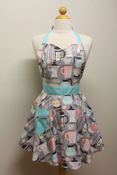 Apron Retro Style French Roast Coffee on Grey Full Apron BELLA Vintage Inspired. $28.75, via Etsy.