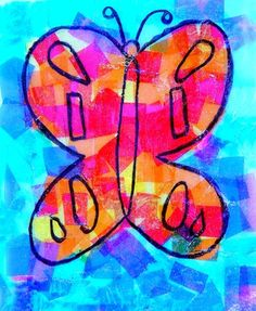 Artsonia Art Museum :: Artwork by Miles57, warm & cool butterflies, grade 2