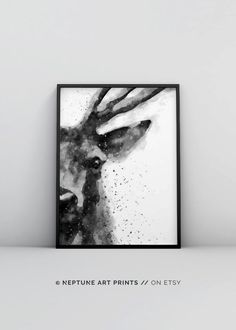Deer Watercolor Printable, Deer Art Print, Painting Deer Head, Abstract Deer Painting, Modern Wall Art, Minimalist Decor Scandinavian Poster Printable art is an easy and affordable way to personalize your home or office. You can print from home, your l