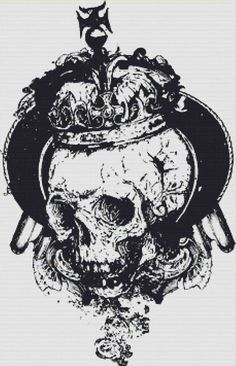 Crowned Skull PDF Cross Stitch Pattern by XSquaredCrossStitch, $6.00