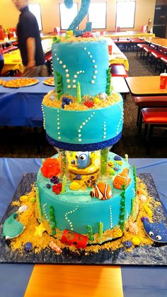 Finding Dory cake... 5th Birthday Party Ideas, Birthday Stuff, Dory Cake, Underwater Birthday, Little Mermaid Parties, Bolo Fake, Baby E, Theme Cakes, Cake Board