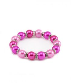 Gradual Series Red Pearl and White CZ Bracelet. Colorful Pearls Bracelet for Women and Girls