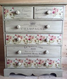 Shabby chic with decoupage and stencils what more could you want Redo Furniture, Shabby Chic Dresser, Colorful Furniture, Chic Decor, Diy Furniture, Chic Furniture, Shabby Chic Diy, Decoupage Furniture, Recycled Furniture