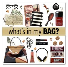 """What's in my bag ?"" by vampirella24 ❤ liked on Polyvore featuring Crabtree & Evelyn, Prada, NARS Cosmetics, Iphoria, Kate Spade, Montblanc, Harley-Davidson, Mason Pearson, Anna Sui and Bobbi Brown Cosmetics"