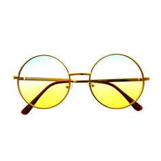 Two Tone Lens Retro Vintage Fashion Gold Metal Frame Round Sunglasses R1590