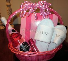 """Wedding Morning"" Gift Basket. -Bride robe from Victoria's Secret, Terrycloth Spa Slippers, Shimmer spray for hair and body, and a bottle of champagne/sparking wine/etc."