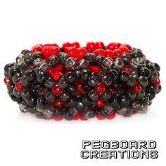 3D Red & Black Kandi Cuff Bracelet by PegboardCreations on Etsy
