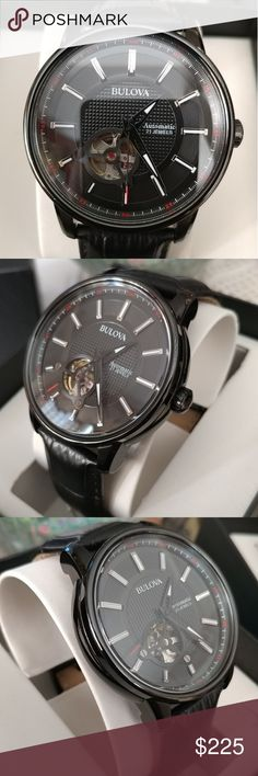 New Bulova Mens Automatic 21 Jewels New Leather Automatic 21 Jewels Comes with box and manual Accessories Watches Shop My, Man Shop, Bulova, Omega Watch, Manual, 21st, Jewels, Watches, Box