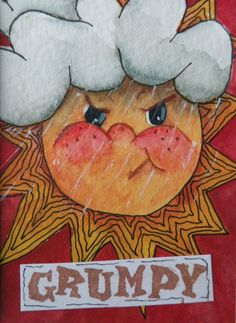 Artist Trading Card of Grumpy Sun Matted/ACEO/Art Card/Watercolor/Wall Decor on Etsy, $16.99
