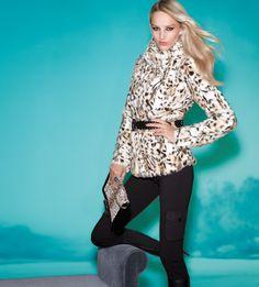 Feeling spotty in our faux fur leopard jacket.  $198  #whbm #celebratebeautifully
