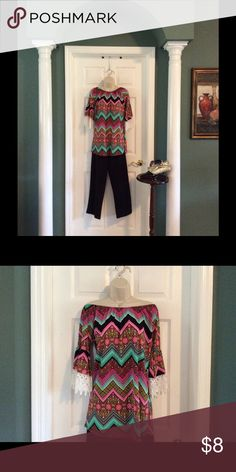 "Boho Tunic Adorable boho tunic has bell sleeves with 3"" lace detail. Can be worn off the shoulder. ( size S/M) Tops Tunics"