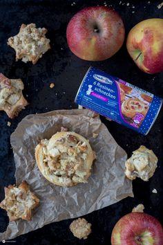Streusel Rosinenschnecken mit Apfel und Marzipan - schnelles Rezept - Kreativfieber