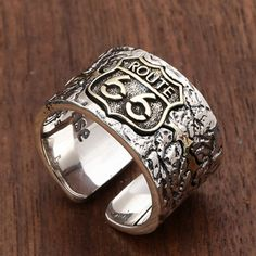 Men's Sterling Silver Route 66 Ring - Jewelry1000.com