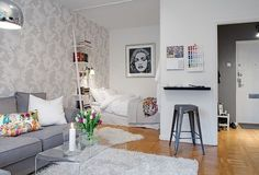 10 Small One Room Apartments Featuring A Scandinavian Décor                                                                                                                                                                                 More