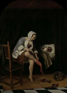 """The Toilette"" Author: Jan Steen (Dutch, ca. 1626-1679)Date: 1655-1660Medium: Oil on panelLocation: Rijksmuseum, Amsterdam"