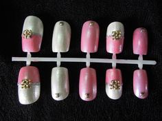 Light Pink and Shimmery White Japanese-Inspired Nail Set, S$20.00