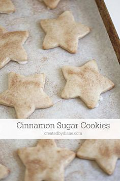 these glazed cookies are not only topped with cinnamon and sugar, but the cookie themselves have a delicious cinnamon flavor. easy cut out cookies #cinnamoncookies