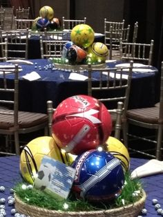 use real balls on center pieces and donate them to local school, boys and girls club, JCS? Soccer Banquet, Cheer Banquet, Soccer Theme, Soccer Birthday, Soccer Party, Boy Birthday Parties, 50 Birthday, Basketball, Soccer Centerpieces