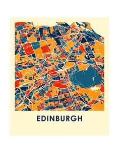 Edinburgh Map Print Full Color Map Poster by iLikeMaps on Etsy Bag Illustration, Illustrations, Scotland Map, Abstract City, Mont Saint Michel, Vintage Maps, City Maps, Graphic Design Posters, Rifle Paper