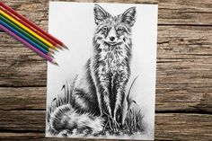 Wouldn't this chic fox be so fun to color? Hand drawn in classic grayscale, this coloring page is the perfect way to relax, stay creative and even hone your artistic skill! See more printable coloring pages @ ArtistryByLisaMarie.Etsy.com