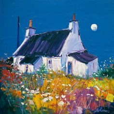 Signed limited edition prints and art prints by British artist John Lowrie Morrison (Jolomo) at the Red Rag British Art Gallery Landscape Art, Landscape Paintings, Landscapes, Cottage Art, Naive Art, Art Techniques, Gouache, Painting Inspiration, Framed Art Prints