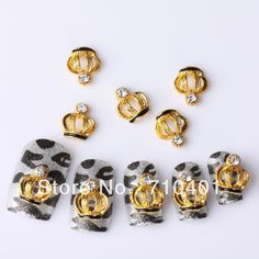 Xmas Free Shipping Wholesale/Nails Supply, 50pcs 3D Alloy Gold Crown DIY Acrylic Nails Design/Nail Art, Unique Gift Novelty Item-in Rhinestones & Decorations from Beauty & Health on Aliexpress.com