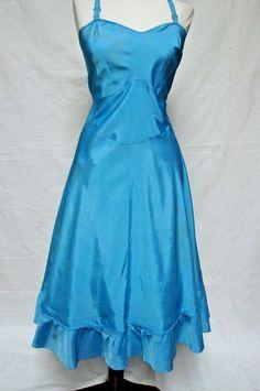 1940s 1950s Vintage VAL MODE BLUE TAFFETA FLOUNCE CIRCLE SKIRT DRESS SLIP…