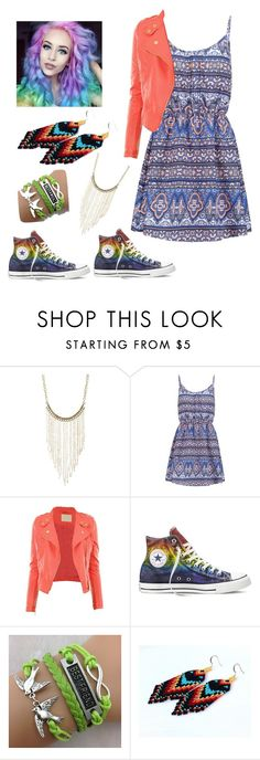 """""""Colorful!"""" by watermelonandmusyc ❤ liked on Polyvore featuring Charlotte Russe, New Look and Converse"""