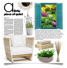 """""""Outdoor Reading"""" by mayafunnyface ❤ liked on Polyvore featuring interior, interiors, interior design, home, home decor, interior decorating, Pier 1 Imports and Potting Shed Creations"""