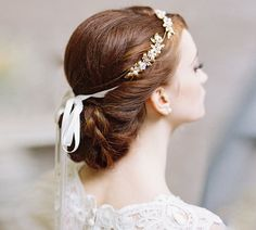 Grecian jeweled bridal leaf hair crown - Morning Glory style 1967