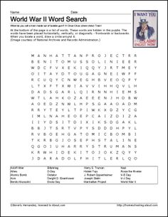 9 Worksheets That Will Teach Your Child About World War II: World War II Wordsearch