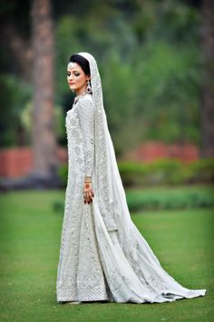 Beautiful white pakistani bridal garb