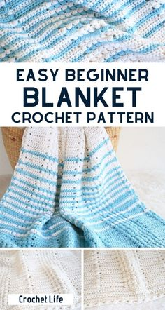 Easy Beginner Crochet Blanket Pattern!  This easy free crochet blanket pattern is perfect for adding beauty to any room.  This simple stitch adds beauty and texture without difficulty.  #Crochet #CrochetBlanket #CrochetPattern #Blankets #Crocheting #Afghan Crochet Baby Blanket Free Pattern, Crochet For Beginners Blanket, Crochet Basket Pattern, Beginner Crochet, Afghan Crochet Patterns, Crochet Basics, Free Crochet, Blanket Patterns, Diy Crafts Knitting