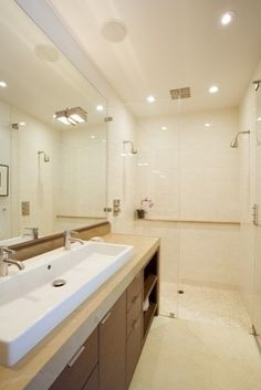 Single lineal lav with two faucets.., nice but  I'm all about the shower!